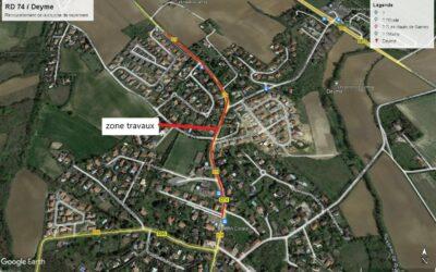 Travaux de rénovation de la couche de roulement – RD 74 – Du 18 au 22 octobre – Commune de Deyme