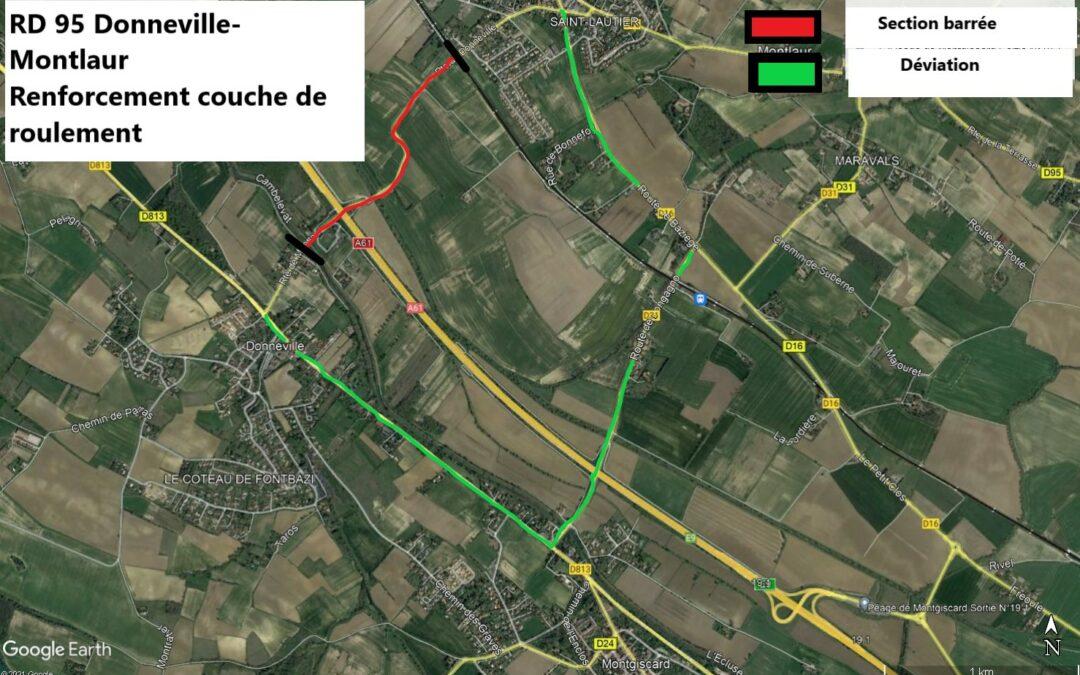 Travaux de pose de bordures et de rénovation de la couche de roulement – RD 95 – Du 11 au 22 octobre – Communes de Donneville et Montlaur